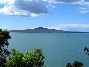 Rangitoto volcano across from Auckland Harbour. This was the view from my living room window in Parnell.