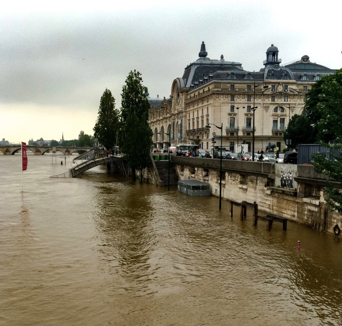 Paris, France - June 01, 2016: Seine river water flooding after major rainfalls.