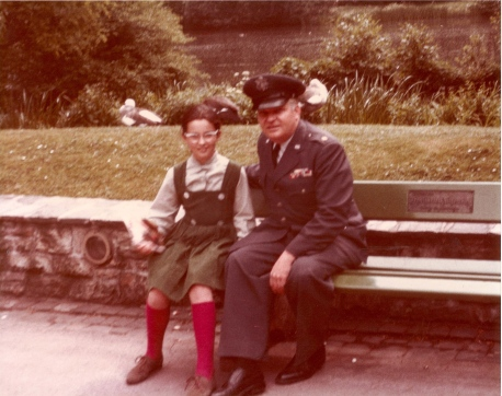 Me (age 10) and my father at the Frankfurt Zoo (Air Force issue glasses! Zut alors!)