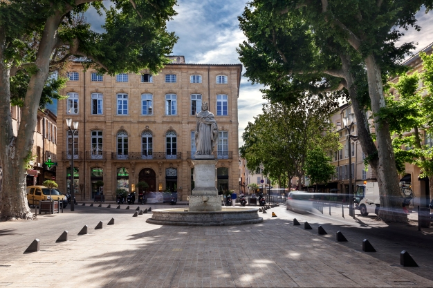 Cours Mirabeau with the statue of King Rene in Aix en Provence