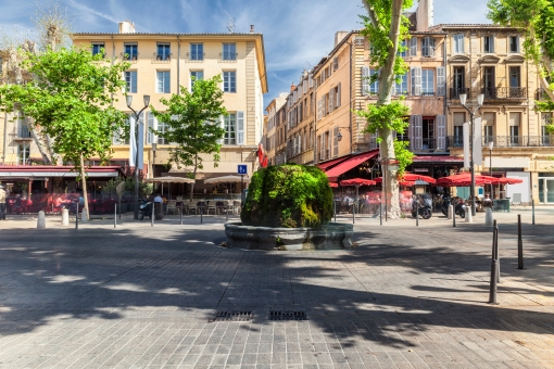 Mossy fountain on the Cours Mirabeau in Aix en Provence, France